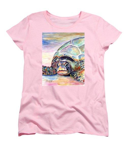 Turtle At Poipu Beach Women's T-Shirt (Standard Cut)