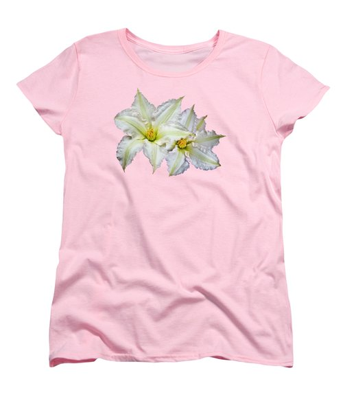 Two Clematis Flowers On Pale Purple Women's T-Shirt (Standard Cut) by Jane McIlroy