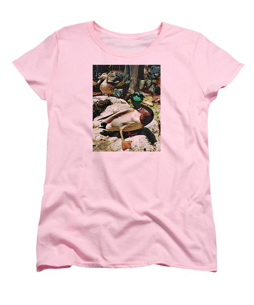 Women's T-Shirt (Standard Cut) featuring the photograph Ducks -dynamic Duo by Kathy Kelly