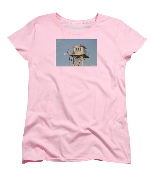 Women's T-Shirt (Standard Cut) featuring the photograph Us Flag Waves At The Full Moon by Robert Banach