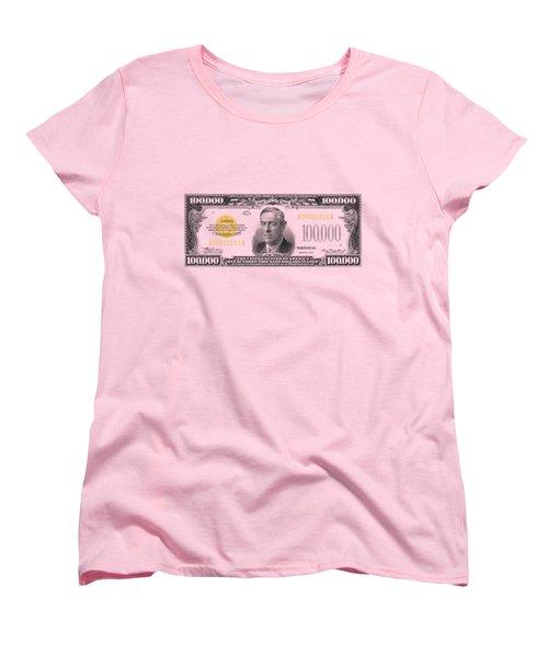 Women's T-Shirt (Standard Cut) featuring the digital art U.s. One Hundred Thousand Dollar Bill - 1934 $100000 Usd Treasury Note  by Serge Averbukh