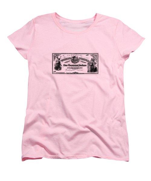 Women's T-Shirt (Standard Cut) featuring the digital art U.s. One Thousand Dollar Bill - 1863 $1000 Usd Treasury Note by Serge Averbukh