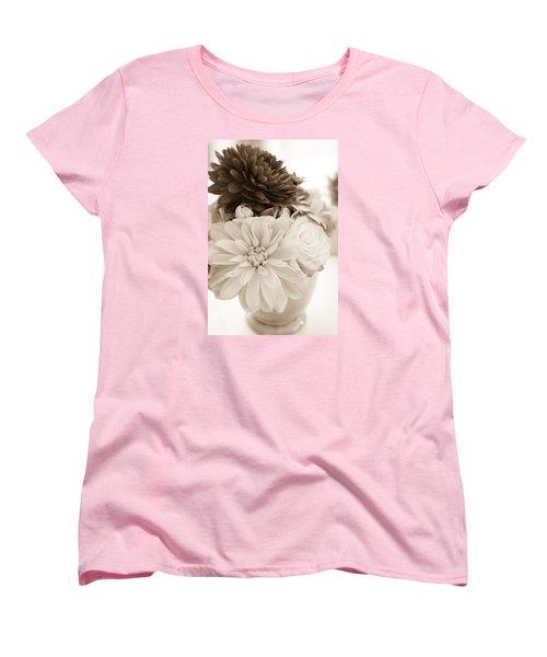 Vase Of Flowers In Sepia Women's T-Shirt (Standard Cut) by Joni Eskridge