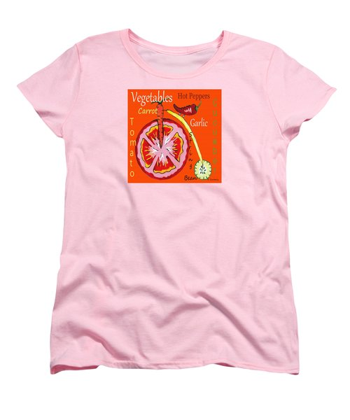 Women's T-Shirt (Standard Cut) featuring the mixed media Vegetables by Kathleen Sartoris