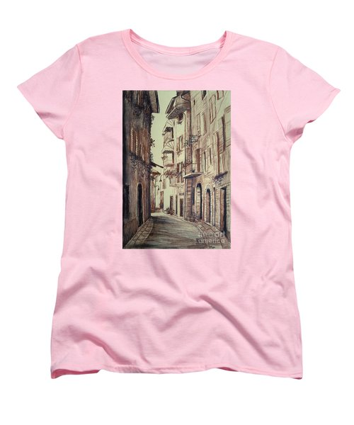 Women's T-Shirt (Standard Cut) featuring the drawing Verona Drawing Of A Narrow Street by Maja Sokolowska