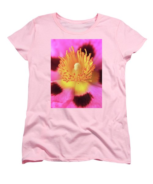 Women's T-Shirt (Standard Cut) featuring the photograph Vibrant Cistus Heart. by Terence Davis