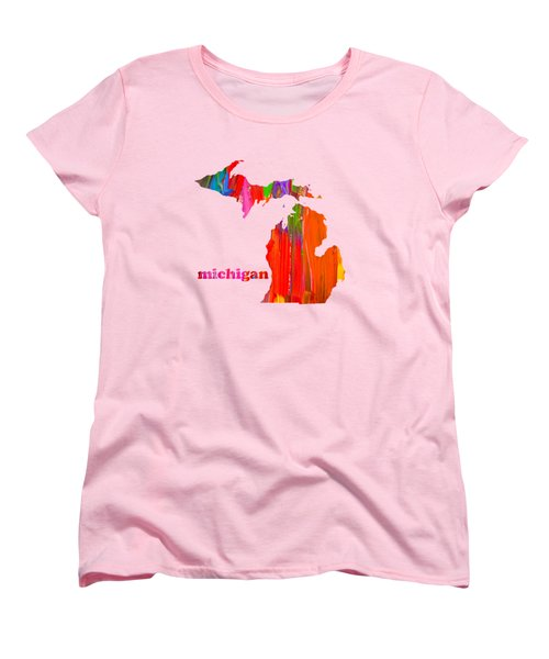 Vibrant Colorful Michigan State Map Painting Women's T-Shirt (Standard Cut) by Design Turnpike
