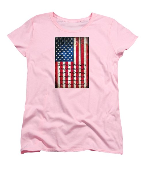 Vintage American Flag And 2nd Amendment On Old Wood Planks Women's T-Shirt (Standard Cut) by M L C