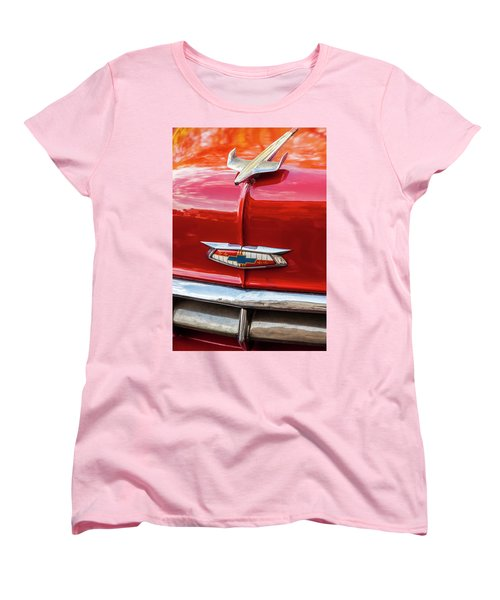Women's T-Shirt (Standard Cut) featuring the photograph Vintage Chevy Hood Ornament Havana Cuba by Charles Harden