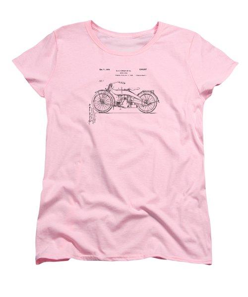 Vintage Harley-davidson Motorcycle 1924 Patent Artwork Women's T-Shirt (Standard Cut) by Nikki Smith