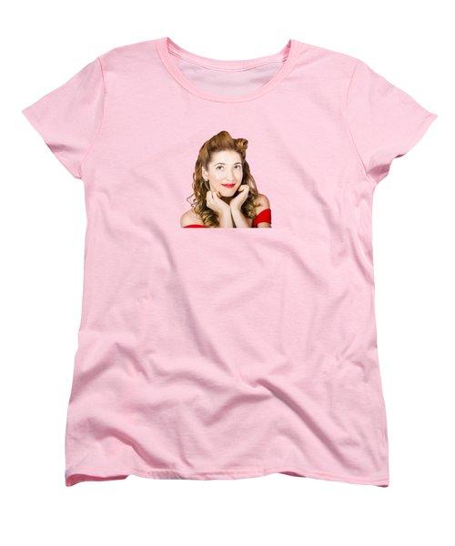 Vintage Makeup Photo Of Cute Smiling Blonde Girl Women's T-Shirt (Standard Cut)