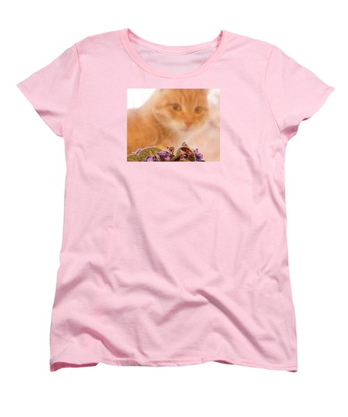 Women's T-Shirt (Standard Cut) featuring the digital art Violets With Cat by Jana Russon