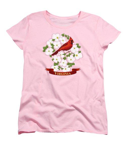 Virginia State Bird Cardinal And Flowering Dogwood Women's T-Shirt (Standard Cut) by Crista Forest