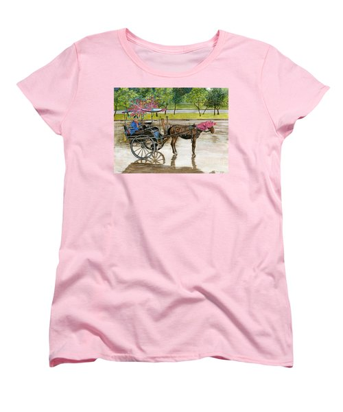Women's T-Shirt (Standard Cut) featuring the painting Waiting For Rider Jakarta Indonesia by Melly Terpening