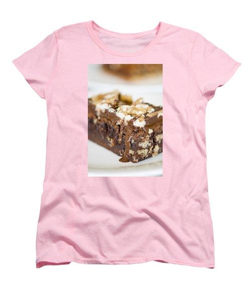 Walnut Brownie On A White Plate Women's T-Shirt (Standard Cut) by Ulrich Schade