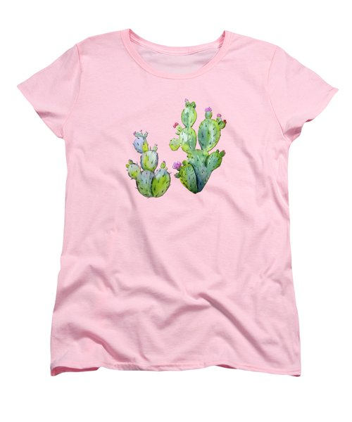 Water Color Prickly Pear Cactus Adobe Background Women's T-Shirt (Standard Cut) by Elaine Plesser