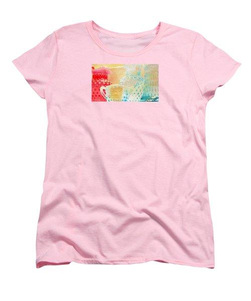 Watercolor Glassware Women's T-Shirt (Standard Cut) by Bonnie Bruno