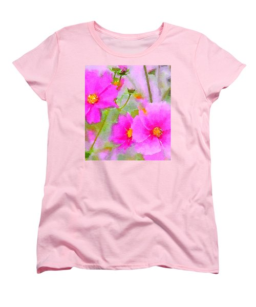 Watercolor Pink Cosmos Women's T-Shirt (Standard Cut) by Bonnie Bruno
