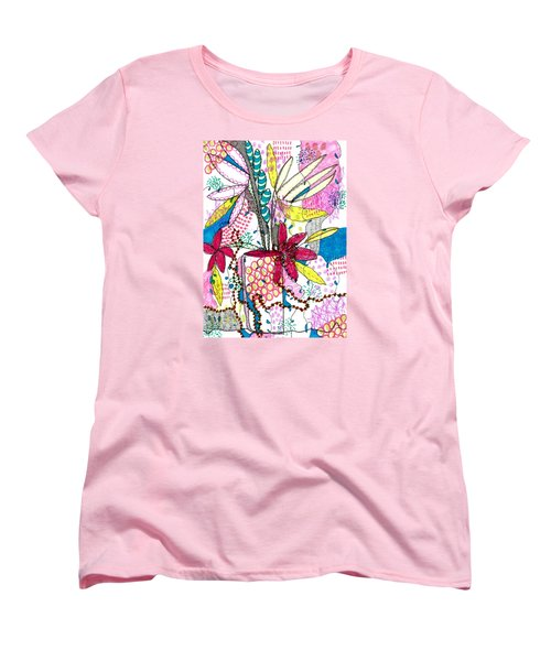 Women's T-Shirt (Standard Cut) featuring the mixed media Where Did You Put My Cup? by Lisa Noneman