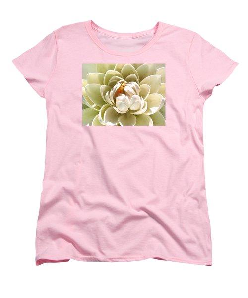 White Blooming Lotus Women's T-Shirt (Standard Cut) by Sumit Mehndiratta
