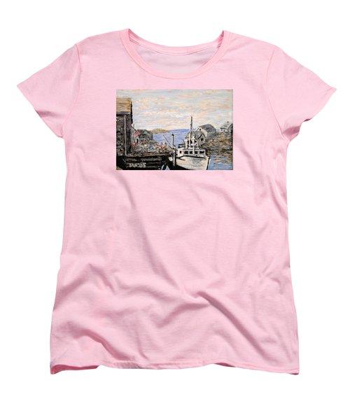 Women's T-Shirt (Standard Cut) featuring the painting White Boat In Peggys Cove Nova Scotia by Ian  MacDonald