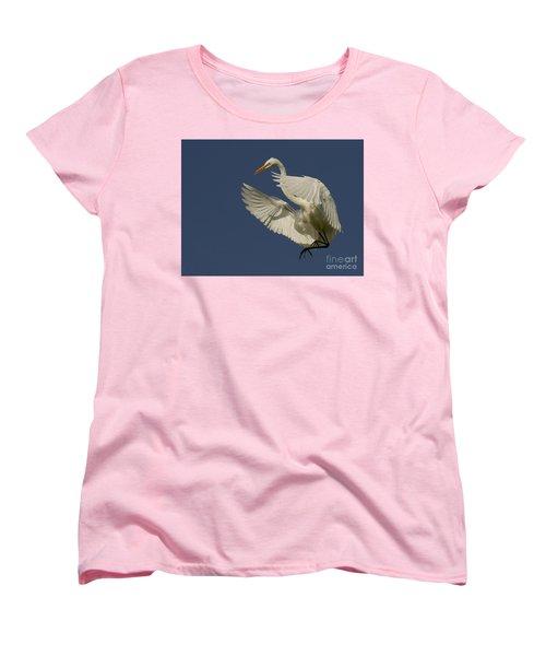 Women's T-Shirt (Standard Cut) featuring the photograph White Egret Flight by Myrna Bradshaw