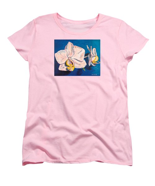 White Phalaenopsis Orchids Women's T-Shirt (Standard Cut) by Valerie Ornstein