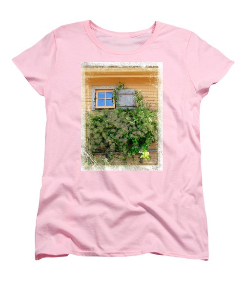 Women's T-Shirt (Standard Cut) featuring the photograph Window Floral In Plymouth by Joan  Minchak