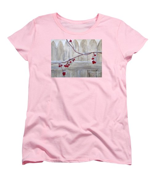 Winter Berries Watercolor Women's T-Shirt (Standard Cut) by Susan Lafleur