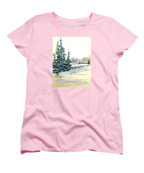 Women's T-Shirt (Standard Cut) featuring the painting Winter Comes At The Farm  by Dorothy Maier