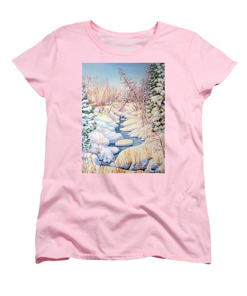 Women's T-Shirt (Standard Cut) featuring the painting Winter Creek 1  by Inese Poga