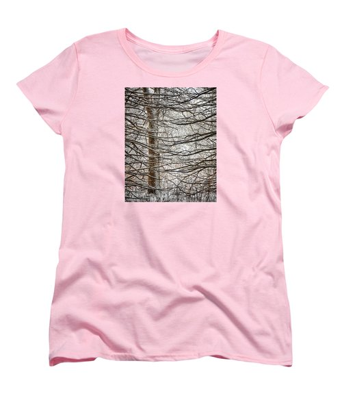 Women's T-Shirt (Standard Cut) featuring the photograph Winter In The Woods by Nikki McInnes