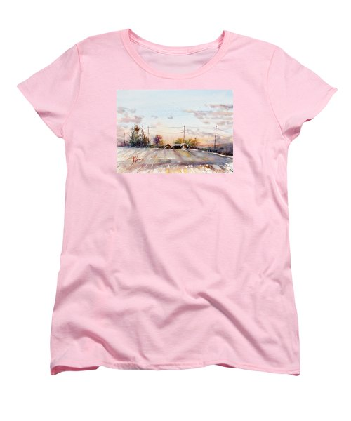 Winter Sunrise On The Lane Women's T-Shirt (Standard Cut) by Judith Levins