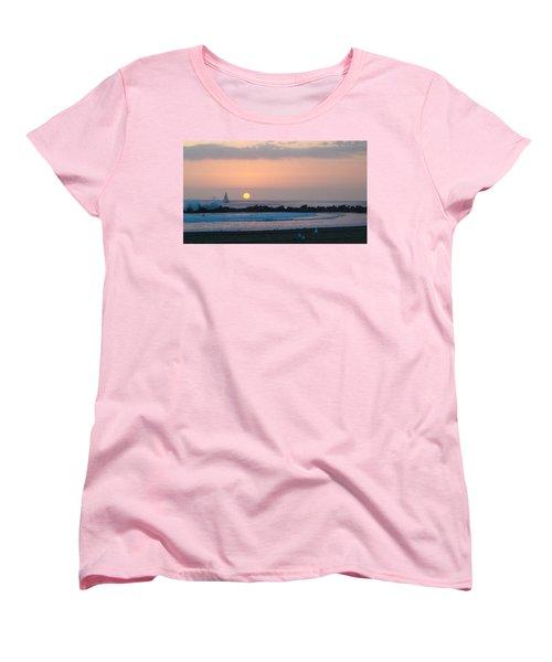 Winter Sunset, Venice Breakwater Women's T-Shirt (Standard Cut) by Mark Barclay