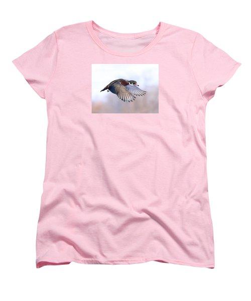 Wood Duck In Flight Women's T-Shirt (Standard Cut) by Lynn Hopwood