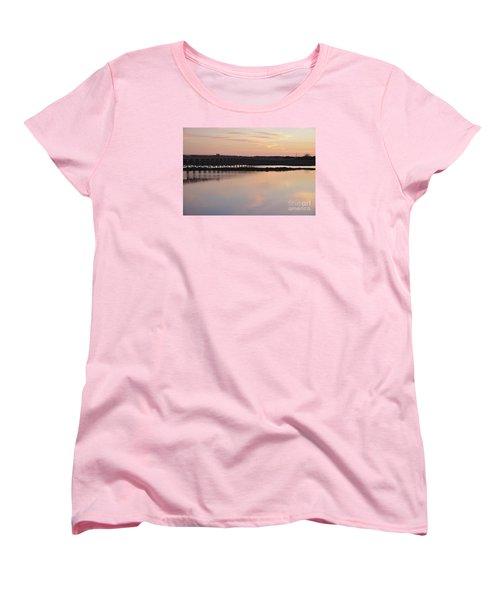 Wooden Bridge And Twilight Women's T-Shirt (Standard Cut) by Angelo DeVal