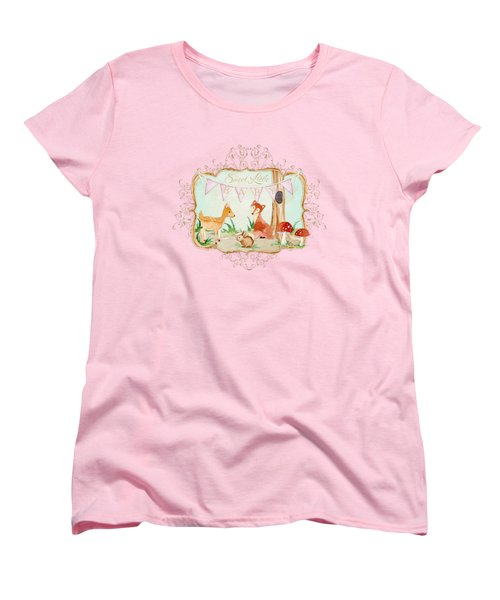 Woodland Fairytale - Banner Sweet Little Baby Women's T-Shirt (Standard Cut) by Audrey Jeanne Roberts