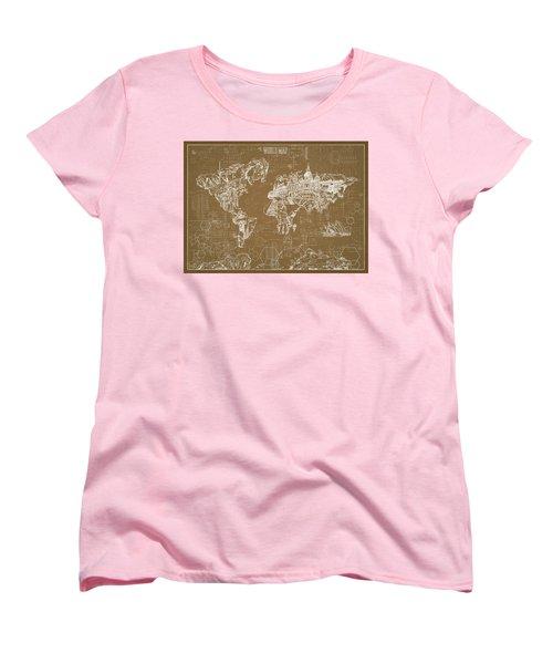 Women's T-Shirt (Standard Cut) featuring the digital art World Map Blueprint 4 by Bekim Art