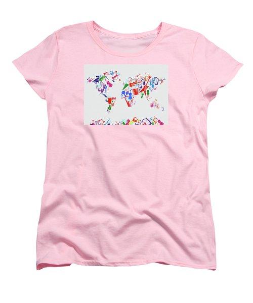 Women's T-Shirt (Standard Cut) featuring the digital art World Map Music 3 by Bekim Art