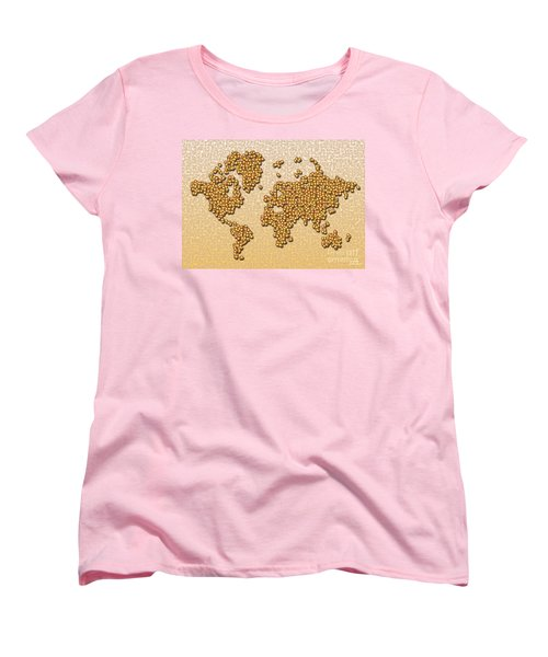 World Map Rolamento In Yellow And Brown Women's T-Shirt (Standard Cut) by Eleven Corners