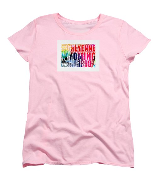 Wyoming Watercolor Word Cloud Map Women's T-Shirt (Standard Cut)