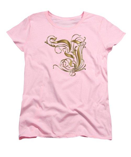 Y Ornamental Letter Gold Typography Women's T-Shirt (Standard Cut) by Georgeta Blanaru