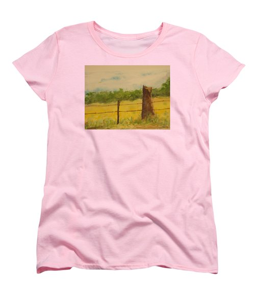 Women's T-Shirt (Standard Cut) featuring the painting Yellow Meadow  by Vicki  Housel