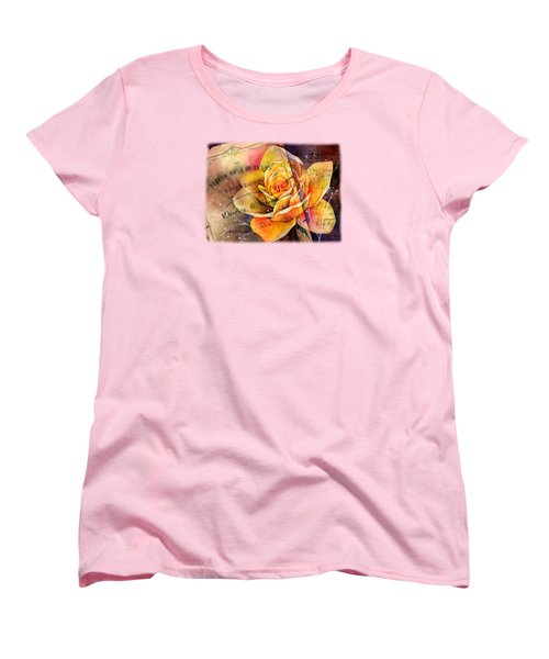 Women's T-Shirt (Standard Cut) featuring the painting Yellow Rose Of Texas by Hailey E Herrera