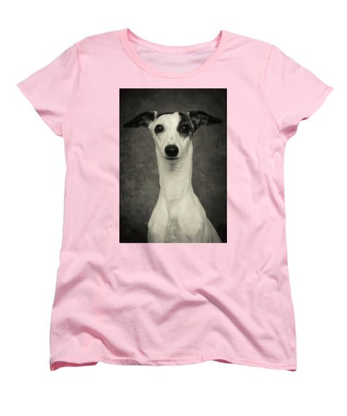 Women's T-Shirt (Standard Cut) featuring the photograph Young Whippet In Black And White by Greg and Chrystal Mimbs