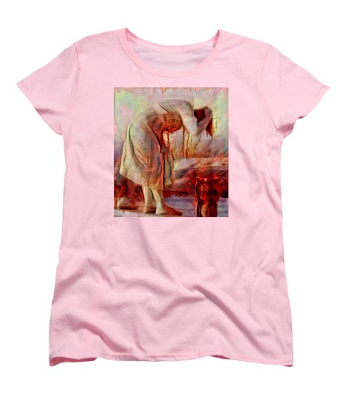 Women's T-Shirt (Standard Cut) featuring the painting Young Woman Washing River Bent Over Old Master Sketch Painting In Orange Blue Oil-like Acrylic Warm Paint by MendyZ