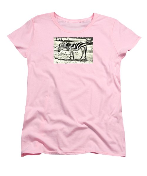 Zebra In Black And White Women's T-Shirt (Standard Cut) by James Potts