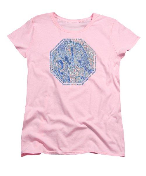 Zentangle Elephant-oil Women's T-Shirt (Standard Cut) by Becky Herrera