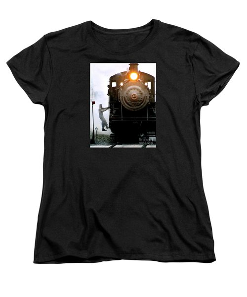 All Aboard The Number 40 At New Hope Pennsylvania Train Terminal Women's T-Shirt (Standard Cut) by Michael Hoard