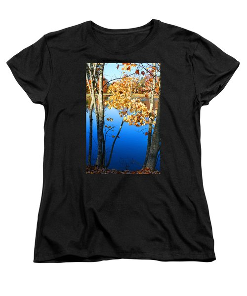 Autumn Trees On The Lake Women's T-Shirt (Standard Cut) by Lesa Fine